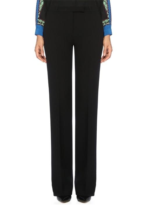 Siyah Normal Bel Boru Paça Yün Pantolon