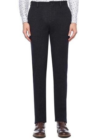 Gri Normal Bel Boru Paça Dokulu Pantolon
