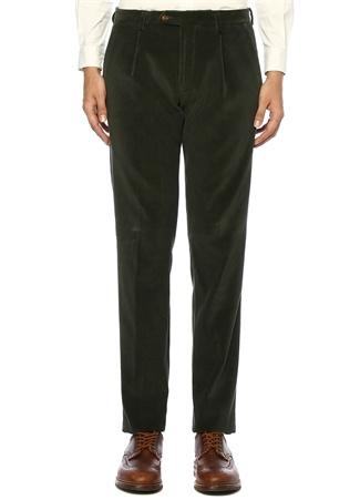 Erkek Haki Pileli 4 Cepli Kadife Pantolon Yeşil 54 IT