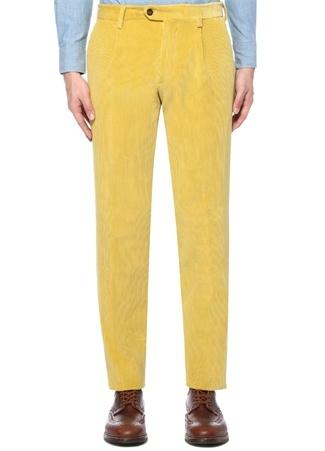 Sarı Normal Bel Kadife Pantolon