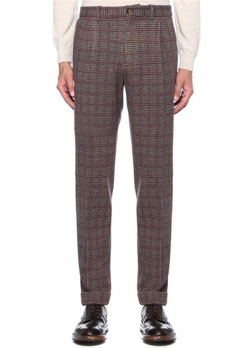 Bej Normal Bel Kazayağı Desenli Yün Pantolon