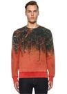 Turuncu Bisiklet Yaka Karışık Desenli Sweatshirt