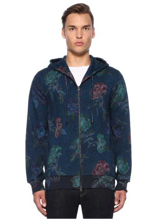 Lacivert Çiçek Desenli Kapüşonlu Sweatshirt