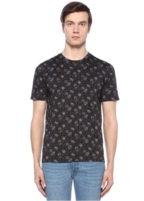 Lacivert Bordo Bisiklet Yaka Çiçekli T-shirt