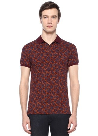 Turuncu Polo Yaka Etnik Desenli T-shirt