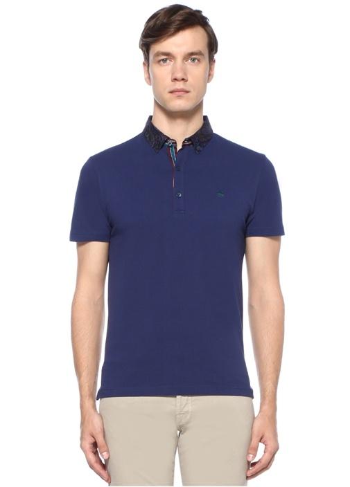 Lacivert Polo Yaka Etnik Desen Detaylı T-shirt