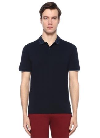 Lacivert Polo Yaka İşlemeli T-shirt