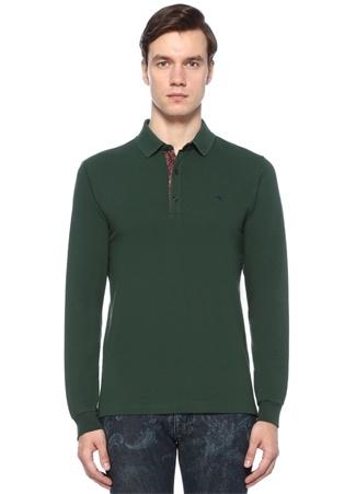 Yeşil Polo Yaka Dokulu Sweatshirt