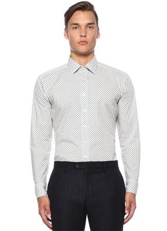 Beyaz Mikro Şal Desenli Gömlek
