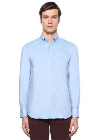 Modern Fit Mavi Yakası Düğmeli Çizgili Gömlek