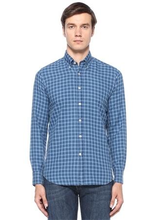 Modern Fit Mavi Yakası Düğmeli Ekoseli Gömlek