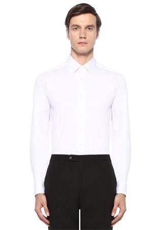 Slim Fit Beyaz İngiliz Yaka Düğme Kapatmalı Gömlek