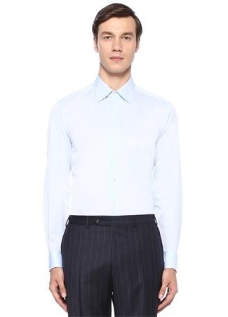 Slim Fit Mavi İngiliz Yaka Kare Dokulu Gömlek