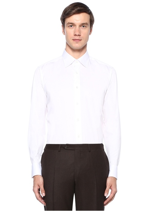 Modern Fit Beyaz Modern Yaka Gömlek