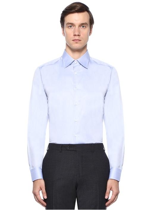 Modern Fit Mavi Kesik Yaka Gömlek