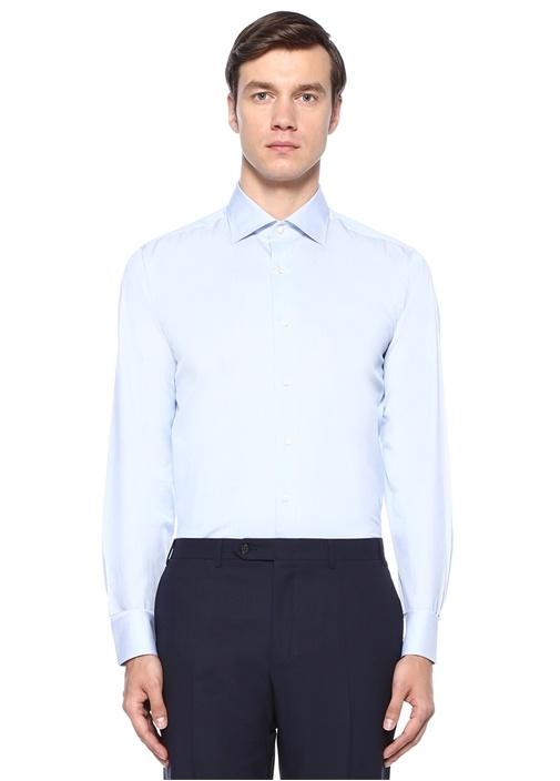 Modern Fit Mavi Modern Yaka Çizgili Gömlek