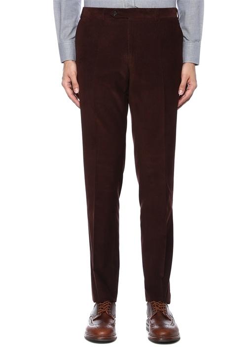 Drop 6 Kahverengi Çizgi Dokulu Kadife Pantolon