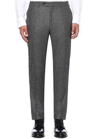 Gri Normal Bel Boru Paça Desenli Yün Pantolon