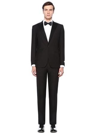 Drop 6 Siyah Şeritli Yün Takım Elbise