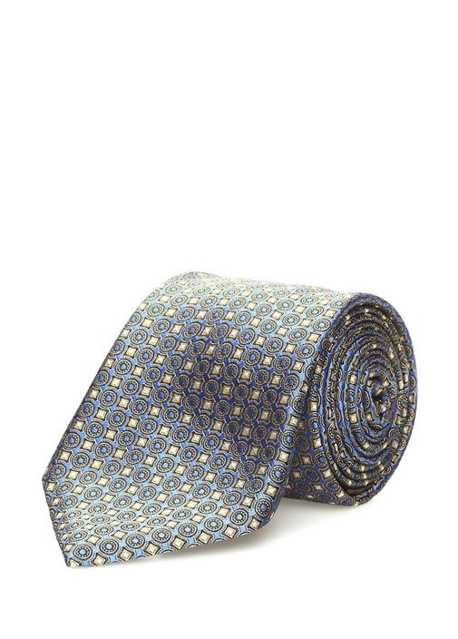 Mavi Sarı Mikro Desenli İpek Kravat