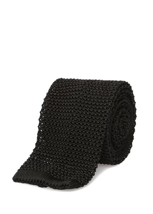 Siyah Dokulu İpek Kravat
