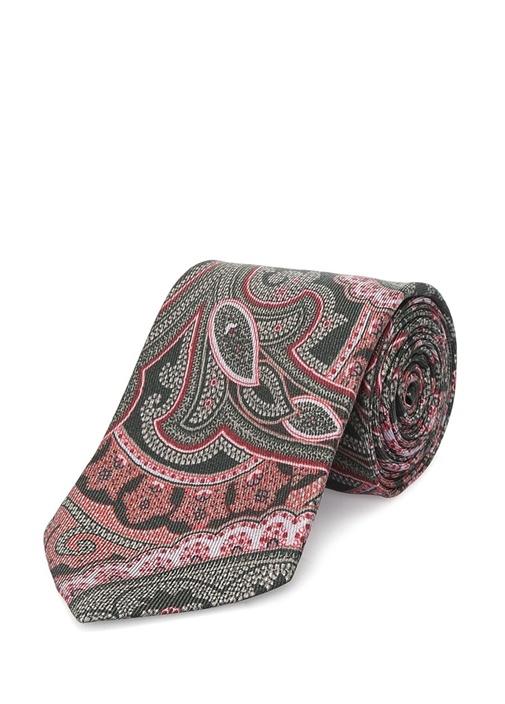 Gri Pembe Şal Desenli İpek Kravat