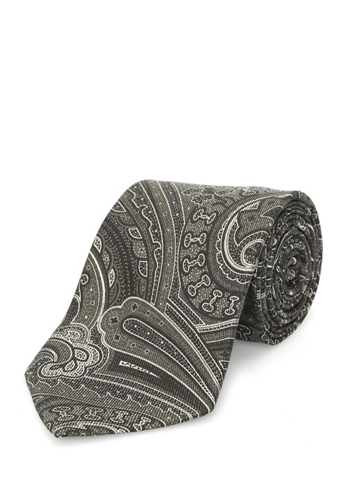 Haki Siyah Şal Desenli İpek Kravat