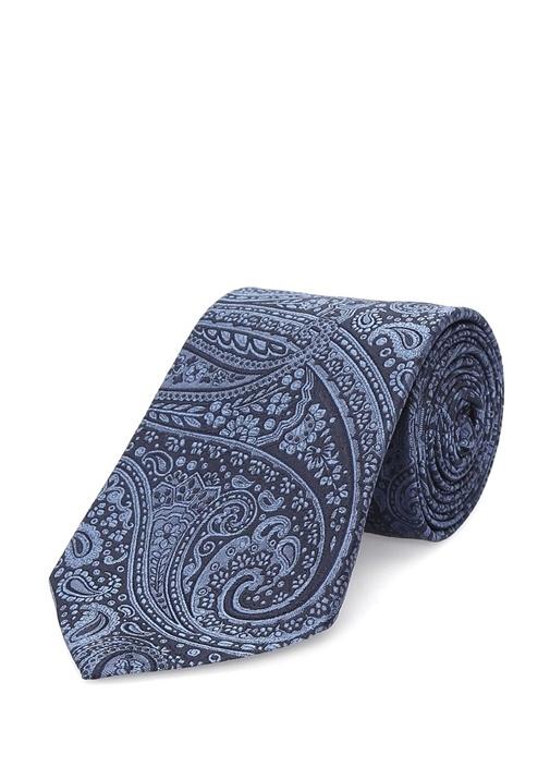 Lacivert Siyah Şal Desenli İpek Kravat