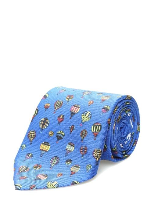 Mavi Mikro Balon Baskılı İpek Kravat
