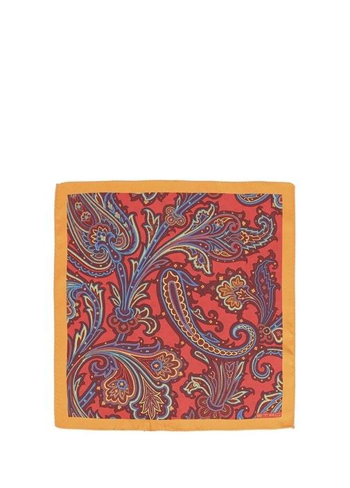 Kırmızı Etnik Desenli Erkek Poşet Mendil