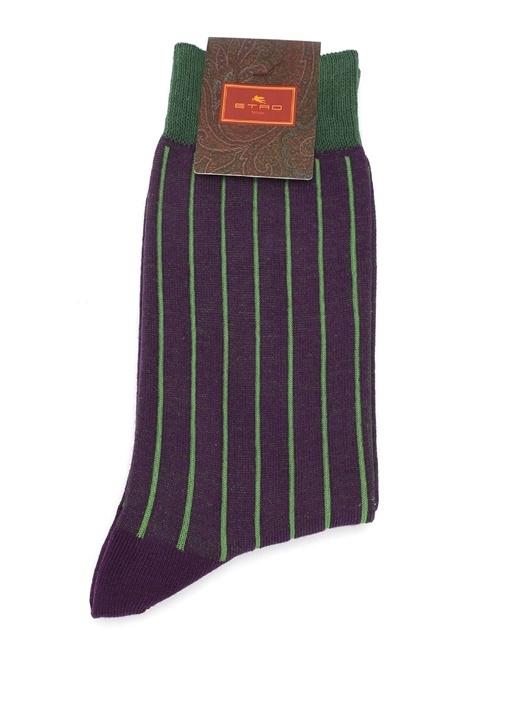 Mor Yeşil Çizgili Erkek Çorap