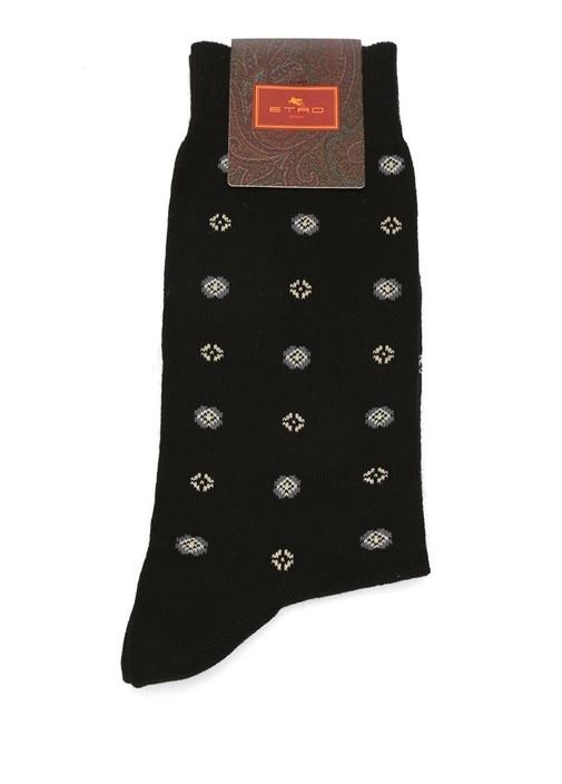 Siyah Mikro Etnik Desenli Erkek Çorap