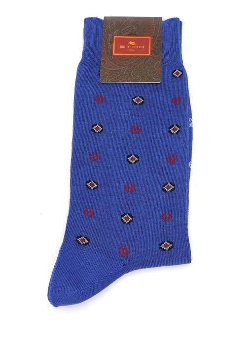 Mavi Mikro Etnik Desenli Erkek Çorap