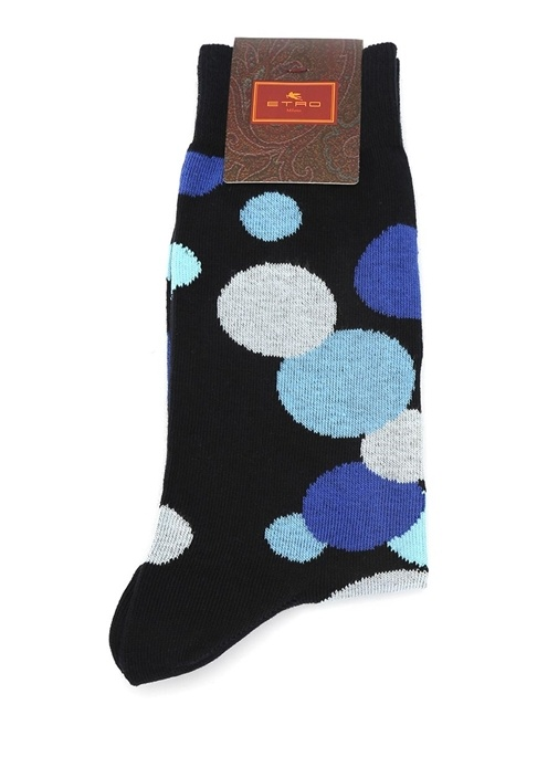 Lacivert Puantiye Desenli Erkek Çorap