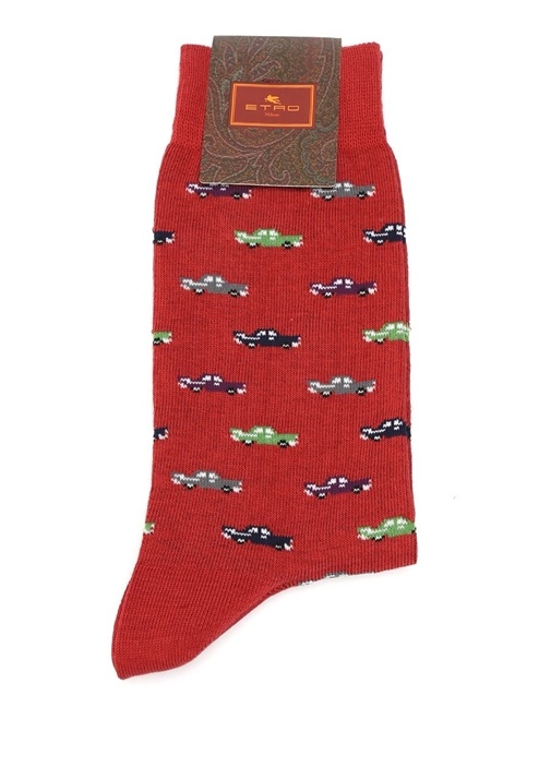 Kırmızı Araba Baskılı Erkek Çorap