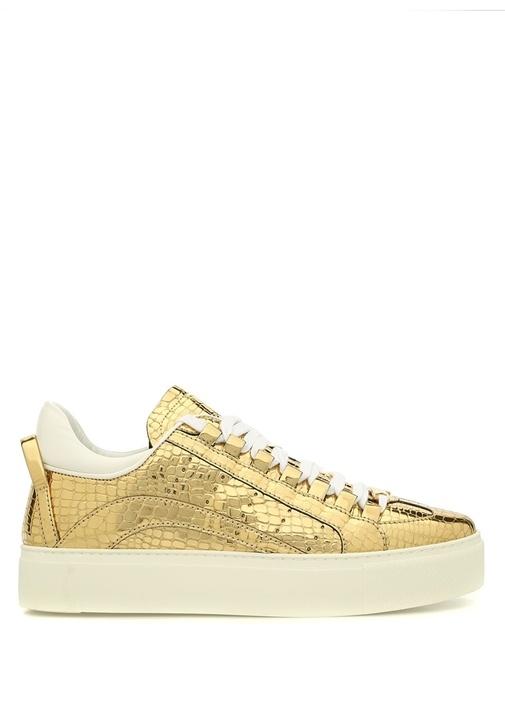Gold Yılan Derisi Dokulu Kadın Sneaker