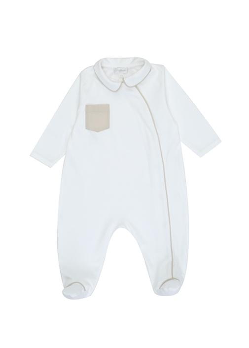 Beyaz Biyeli İngiliz Yaka Erkek Bebek Tulum