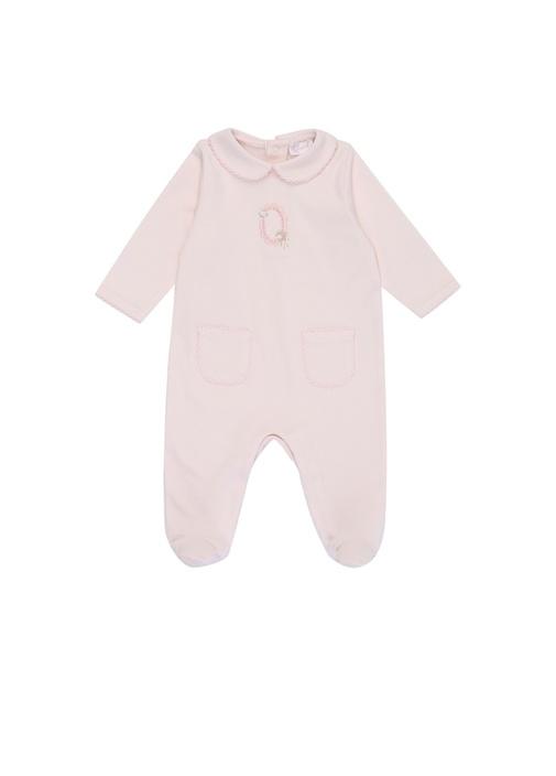 Pembe Bebe Yaka Nakış Detaylı Kız BebekTulum