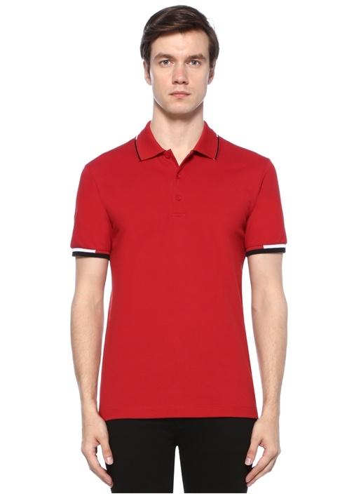 Kırmızı Polo Yaka Düğme Kapatmalı T-shirt