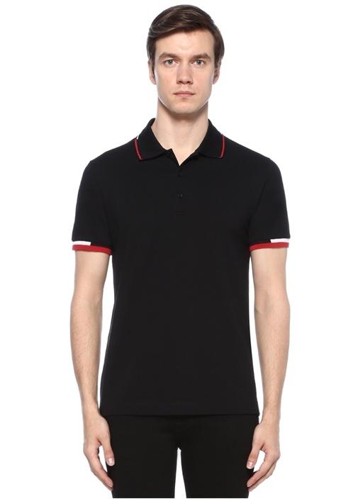 Siyah Polo Yaka Düğme Kapatmalı T-shirt