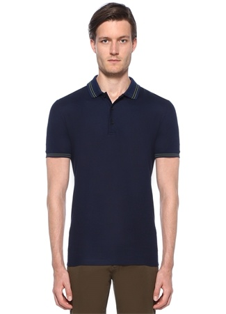 Bottega Veneta Erkek Lacivert Polo Yaka Dokulu Kontrast Dikişli -shirt Mavi 48 I (IALY) Ürün Resmi