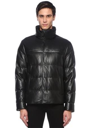 Bottega Veneta Erkek Siyah Dik Yaka Şerit Örgü Detaylı Puff Deri Mont 54 I (IALY) Ürün Resmi