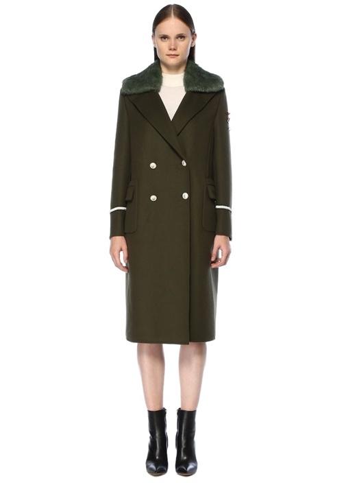 Cappotto Haki Yakası Peluşlu Yün Palto