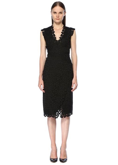 Siyah Dantelli V Yaka Midi Elbise