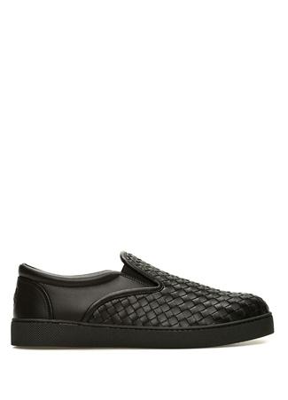Bottega Veneta Erkek Siyah Örgü Dokulu Deri Sneaker 4 EU male 41
