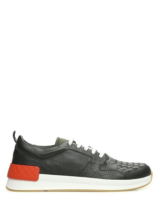 Yeşil Örgü Dokulu Erkek Deri Sneaker