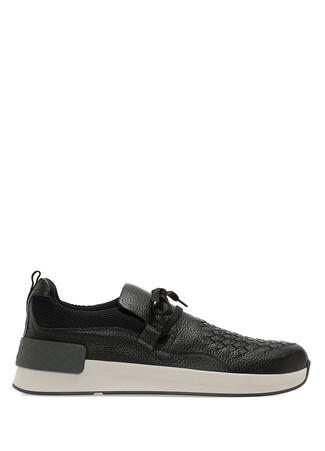 Bottega Veneta Erkek Siyah Örgü Dokulu Deri Sneaker 40.5 EU male