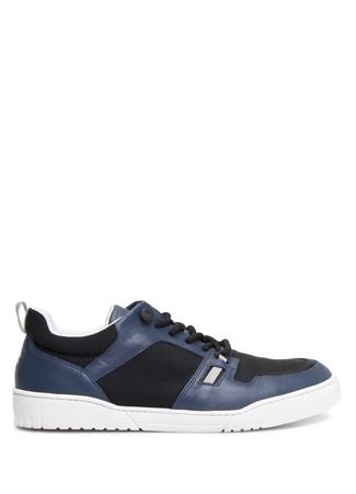 Bottega Veneta Erkek Lacivert Siyah Bağcıklı Fileli Deri Sneaker Mavi 43.5 R Ürün Resmi