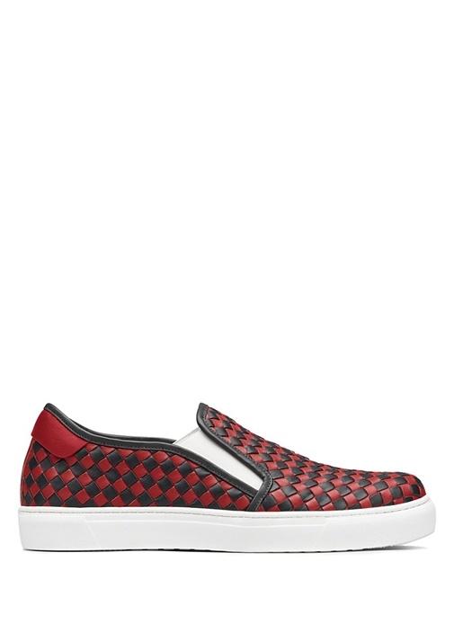 Kırmızı Siyah Damalı Erkek Deri Sneaker