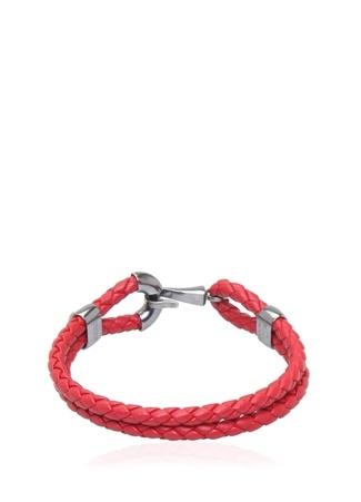 Bottega Veneta Erkek Kırmızı Çiftli Örgü Dokulu Bileklik M Ürün Resmi